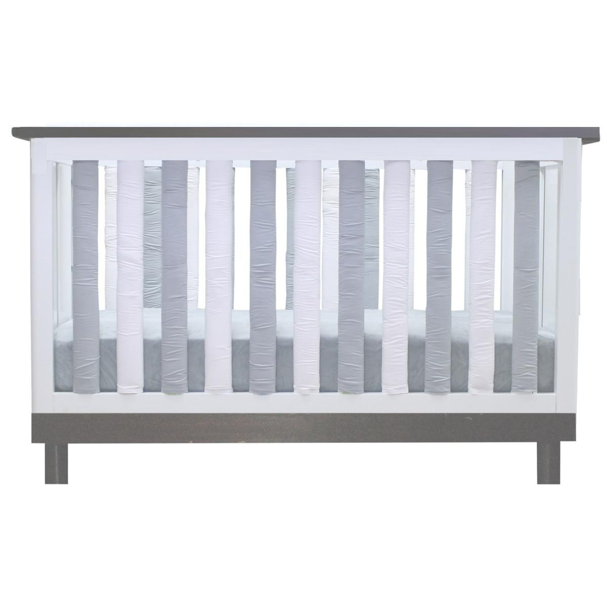 Grey & White Vertical Crib Liner